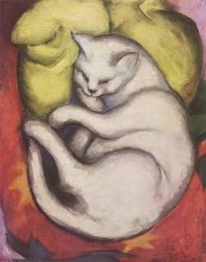 Franz Marc - Cat on a Yellow Pillow