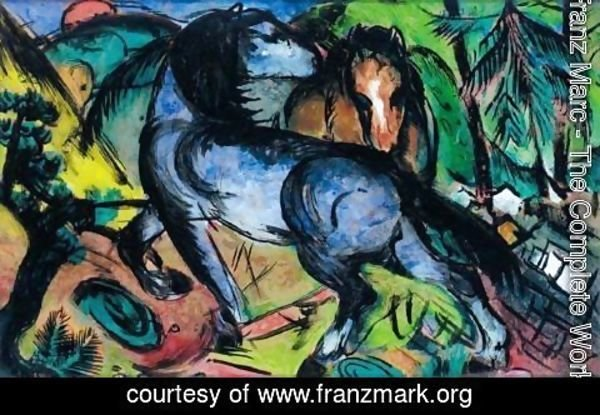 Franz Marc - Zwei Grosse Pferde In Landschaft (Two Large Horses In A Landscape)