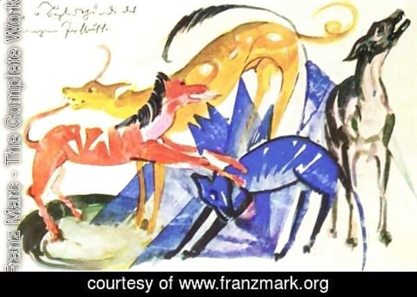 Franz Marc - The four dogs accompanying the Prince Jusuff