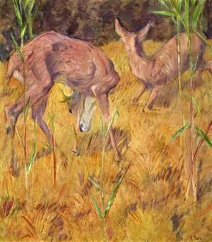 Franz Marc - Deer in the reed