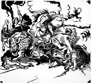 Lion Hunt (after Delacroix)