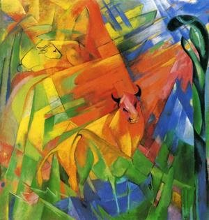 Franz Marc - Animals In Landscape Aka Painting With Bulls