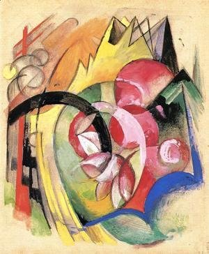 Franz Marc - Coloful Flowers Aka Abstract Forms