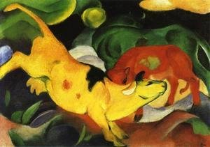 Franz Marc - Cows  Yellow Red Green