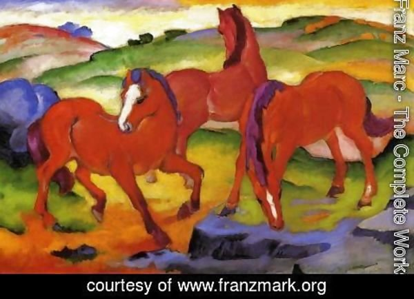 Franz Marc - Grazing Horses IV Aka The Red Horses