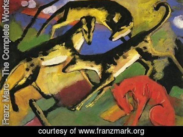 Franz Marc - Playing Dogs