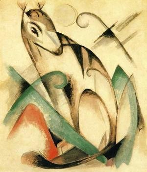 Franz Marc - Seated Mythical Animal