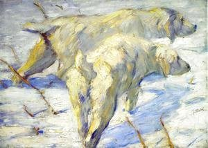 Franz Marc - Siberian Sheepdogs Aka Siberian Dogs In The Snow