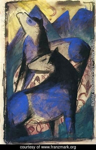 Franz Marc - Two Blue Horses