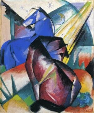 Franz Marc - Two Horses  Red And Blue