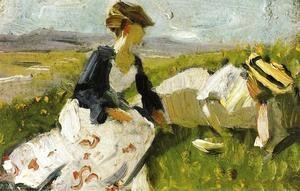 Two Women On The Hillside  Sketch